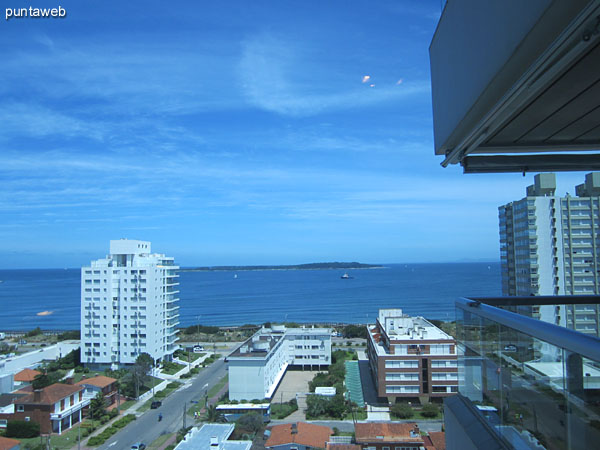 The window of the suite offers views over the bay of Punta del Este.