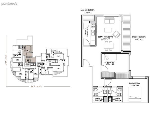 Planta unidad E. Niveles 1–12. Tipolog�a: departamentos de 1 dormitorio y 1 ba�o. Superficie: 57.32 m� (incluye, muros, ductos y terrazas).