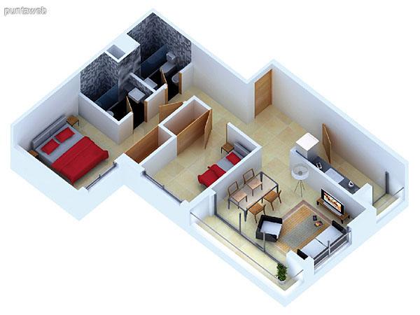 Planta unidad E. Niveles 14–20. Tipolog�a: departamentos de 2 dormitorios y 2 ba�os. Superficie: 72.95 m� (incluye, muros, ductos y terrazas).