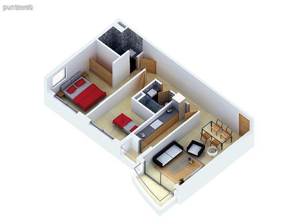Planta unidad B. Niveles 2–12 y 14–20. Tipolog�a: departamentos de 2 dormitorios y 2 ba�os. Superficie: 74.97 m� (incluye, muros, ductos y terrazas).