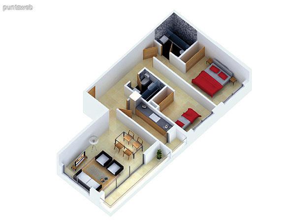 Planta unidad F. Niveles 14–20. Tipolog�a: departamentos de 2 dormitorios y 2 ba�os. Superficie: 85.92 m� (incluye, muros, ductos y terrazas).