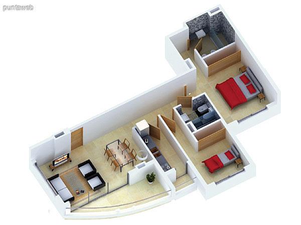 Planta unidad F. Niveles 17–20. Tipolog�a: departamentos de 2 dormitorios y 2 ba�os. Superficie: 90.29 m� (incluye, muros, ductos y terrazas).
