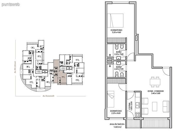 Planta unidad G. Niveles 17–20. Tipolog�a: departamentos de 2 dormitorios y 2 ba�os. Superficie: 102.72 m� (incluye, muros, ductos y terrazas).