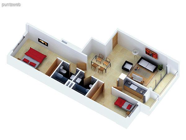Planta unidad H. Niveles 1–14. Tipolog�a: departamentos de 2 dormitorios y 2 ba�os. Superficie: 82.17 m� (incluye, muros, ductos y terrazas).