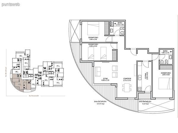 Planta unidad G. Niveles 1–14. Tipolog�a: departamentos de 3 dormitorios y 2 ba�os. Superficie: 104.49 m� (incluye, muros, ductos y terrazas).