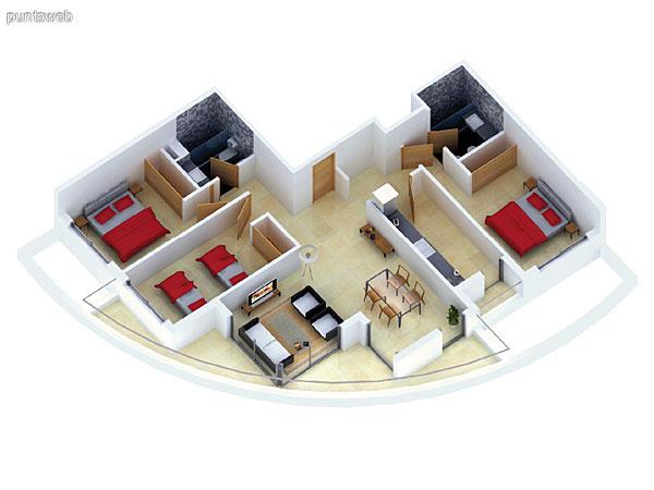 Planta unidad C. Niveles 0–20. Tipolog�a: departamentos de 3 dormitorios y 2 ba�os. Superficie: 121.40 m� (incluye, muros, ductos y terrazas).