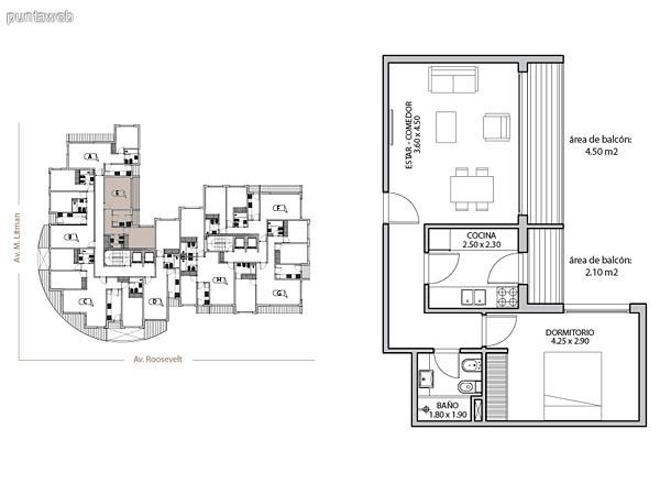 Planta unidad D. Niveles 0–20. Tipolog�a: departamentos de 1 dormitorio y 1 ba�o. Superficie: 63.69 m� (incluye, muros, ductos y terrazas).