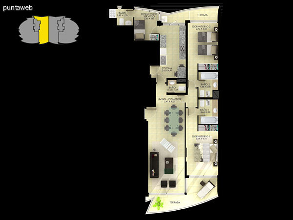 Planta de tipología 01. 3 dormitorios en suite, living comedor, terrazas, dormitorio de servicio, baño social y cocina.