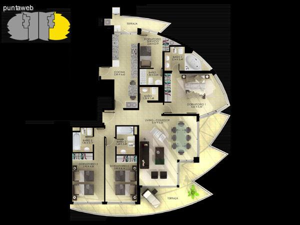 Planta de tipología 02. 2 dormitorios en suite, living comedor, terrazas, dormitorio de servicio, baño social y cocina.
