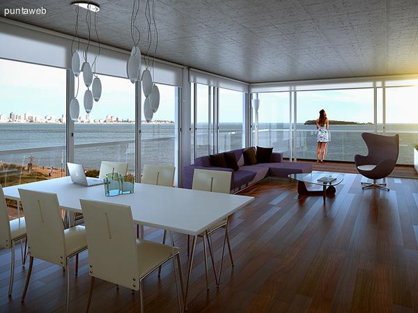Renderizado del espacio de barbacoa y terraza com�n en el �ltimo piso.