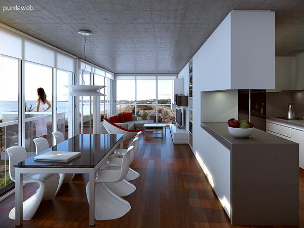Renderizado de espacio interior con cocina integrada de una de las tipologías de dos dormitorios.