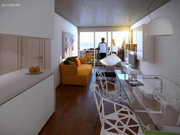 Renderizado de espacio interior con cocina integrada de una de las tipolog�as de dos dormitorios.