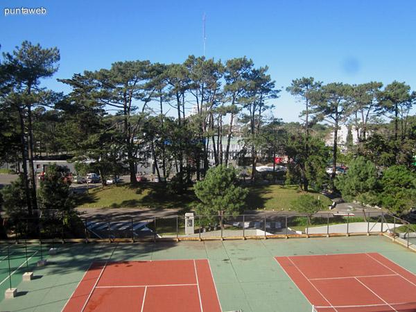Vista hacia el lateral sureste desde el dormitorio principal en suite sobre las canchas del tenis del edificio.
