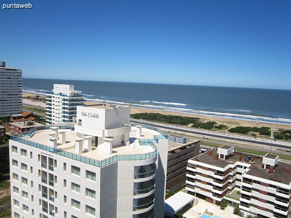 View from 18th floor balcony to the southeast over the Atlantic Ocean.