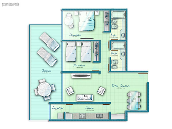 Map unit 2 bedrooms with access to the suites and terraces from the living room.<br><br>Summer kitchen.