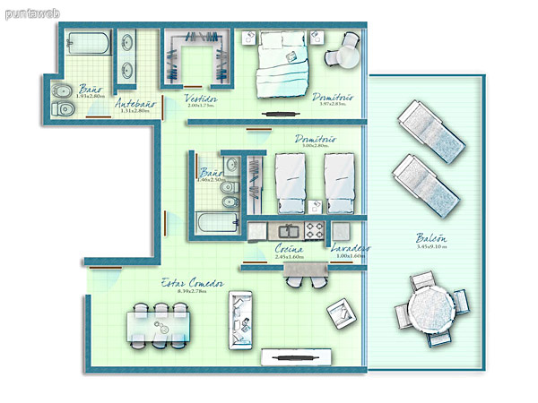 Map unit 2 bedrooms with access to terrace from master suites and living room.<br><br>Outdoor kitchen with access to terrace service.