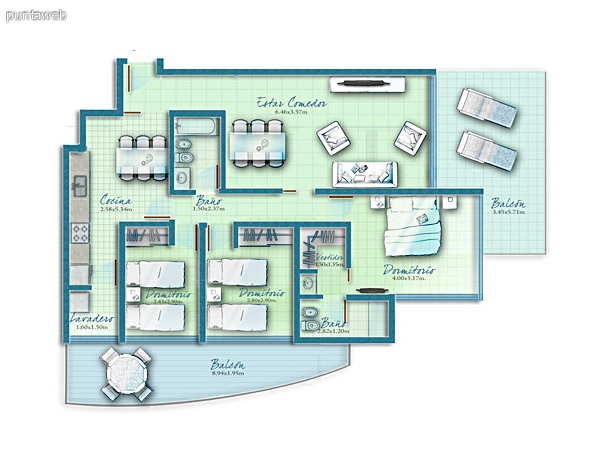 Map unit 2 bedrooms with access to terrace and living room suites.<br><br>Master suite with dressing.