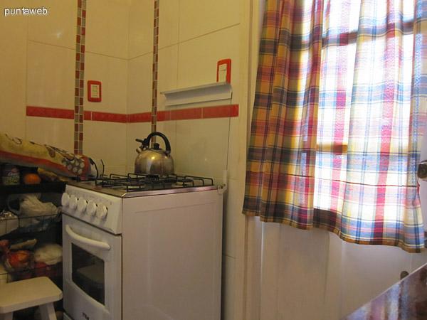 Detalle de mesada en la cocina. Cuenta con muebles bajo mesada y estantes sobremesada. La cocina est� reciclada a nuevo y cuenta con puerta a un balc�n terraza sobre el lateral del edificio.