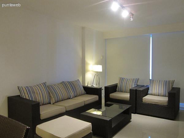 Living del departamento. Acondicionado con sillones símil rattán, uno de dos cuerpos y dos individuales. Complementa una mesa baja y un televisor LCD.