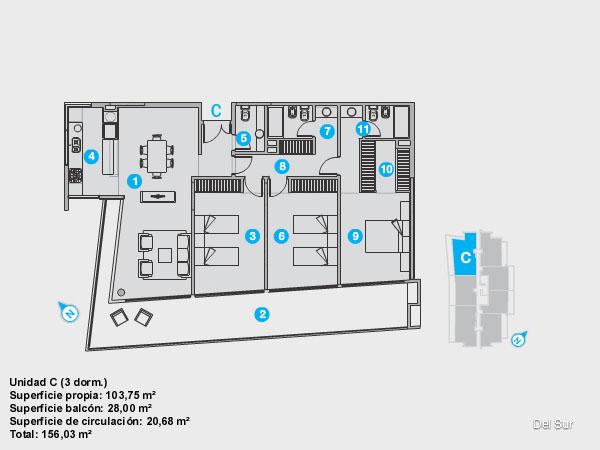 Plano de unidad B.<br>Unidad de 2 dormitorios, uno de ellos en suite.<br>Dos baños completos con grifería y artefactos de nivel.<br>Living comedor y cocina integrados.<br>Terraza con vista sur y acceso desde todos los ambientes.