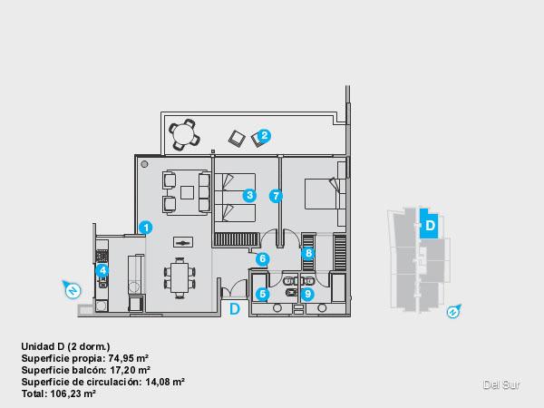 Plano de unidad C.<br>Unidad de 3 dormitorios, uno de ellos en suite con vestidor.<br>Dos baños completos con grifería y artefactos de nivel.<br>Living comedor y cocina integrados.<br>Terraza con vista sur y acceso desde todos los ambientes.<br>Toilette.