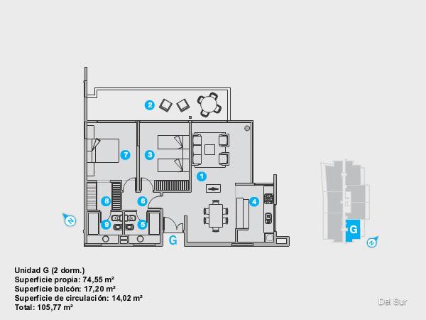 Plano de unidad F.<br>Unidad de 2 dormitorios, uno de ellos en suite con vestidor.<br>Dos baños completos con grifería y artefactos de nivel.<br>Living comedor y cocina integrados.<br>Terraza con vista noreste y acceso desde todos los ambientes.<br>