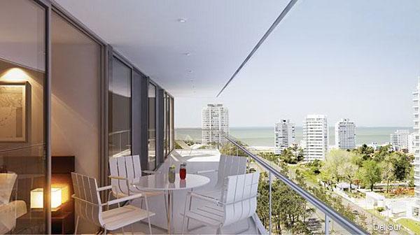 Render de terraza exterior con acceso desde los ambientes y vistas a Océano Atlántico y Península.