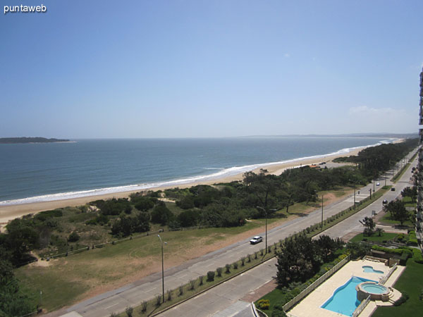 View looking west over the bay of Punta del Este and Mansa beach from the balcony and roof terrace closed.