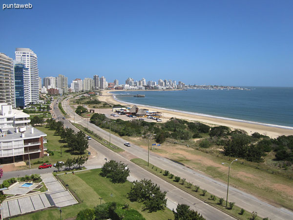 View to the west over the bay of Punta del Este and Mansa beach from the balcony and roof terrace closed.