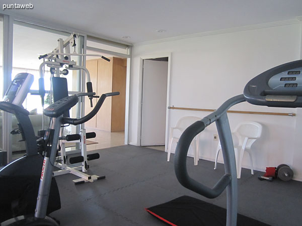 Gym. Located at the back of the reception on the south side.