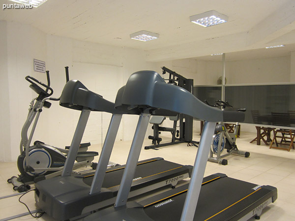 Gym. Located in the basement. Conditioning with varied equipment, walkers, elliptical, bike and weights.