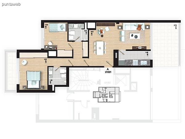 Planta de pisos 5 al 9. Apartamentos tipo 02 y 04.