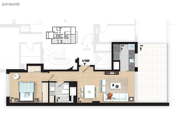Planta piso 10. Apartamento 1001.