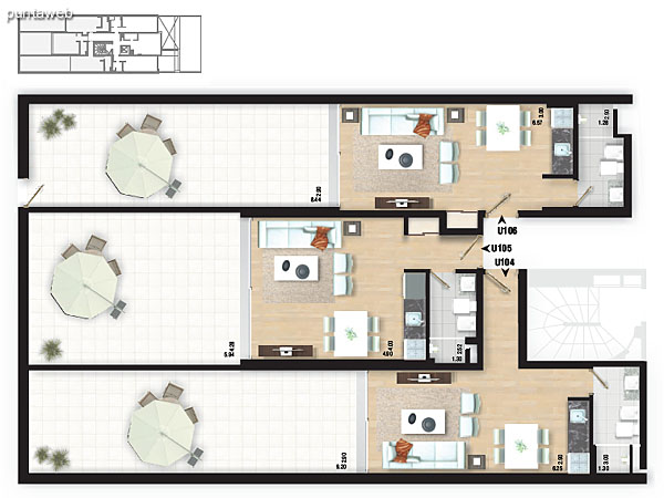 Planta del piso 1. Apartamentos 101, 102 y 103.