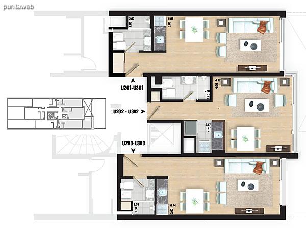 Planta de piso 1. Apartamentos 104, 105 y 106.