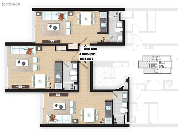 Planta de pisos 2 y 3. Apartamentos 01, 02 y 03.