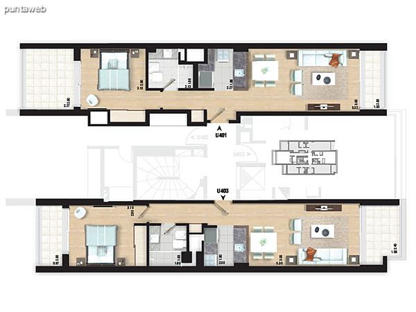 Planta de pisos 2 y 3. Apartamentos 04, 05 y 06.