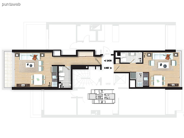 Planta de piso 4. Apartamentos 401 y 403.