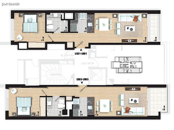Planta de piso 4. Apartamentos 402 y 404.