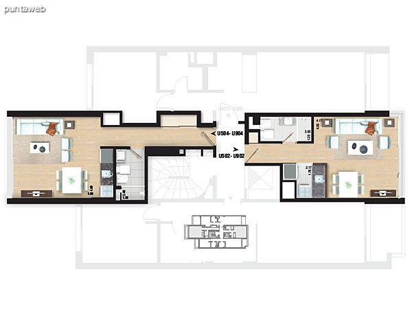 Planta de pisos 5 al 9. Apartamentos tipo 01 y 03.