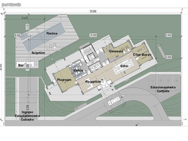 Area de esparcimiento y recepción en Planta Baja del edificio.