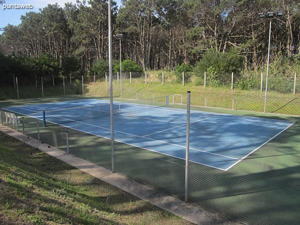 Cancha de tenis de cemento. Situada sobre el lateral este del predio. Cuenta con iluminación.