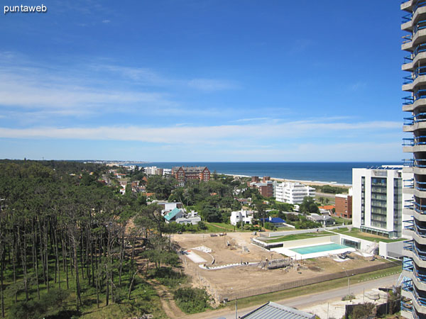 View to the southwest from the window of living along the coast to the peninsula of Punta del Este in the background.