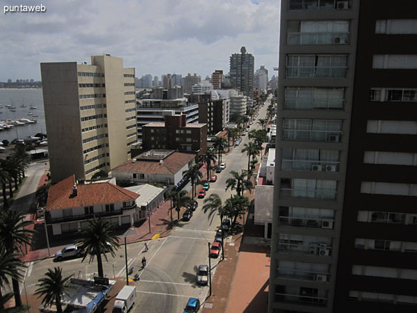 View from the master bedroom window along Gorlero Avenue from its end in the corner of the building to his home east.