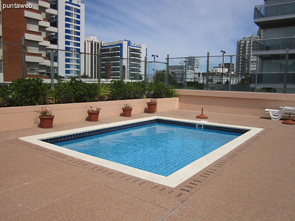 Overview of the outdoor swimming pool for adults.