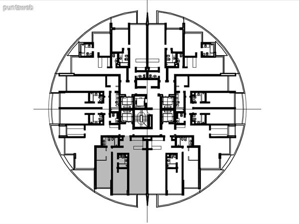 Ubicación en planta de los apartamentos de la tipología 01