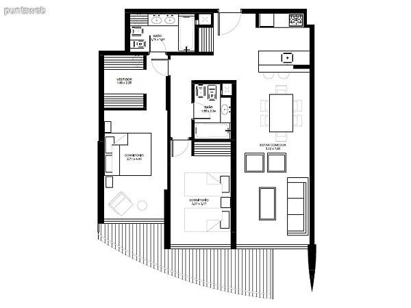 Apartamentos de tipología 01 &ndash; 201 al 2201<br>2 dormitorios (1 en suite)<br>Metros propios &ndash; 86.96 m²<br>Terrazas &ndash; 11.78 m²<br>Circulaciones &ndash; 6.36 m²<br>Metros totales &ndash; 105.10 m²