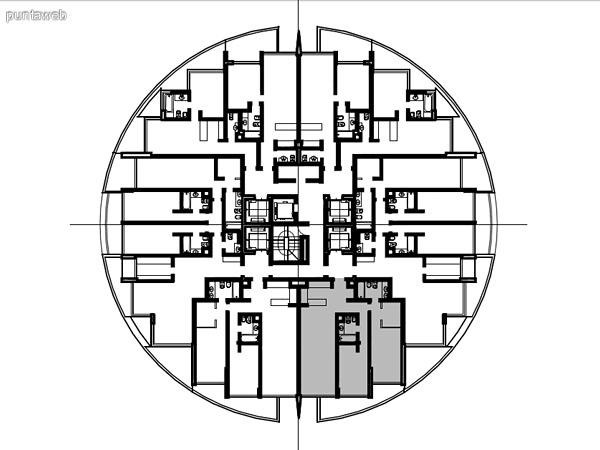 Ubicación en planta de los apartamentos de la tipología 02