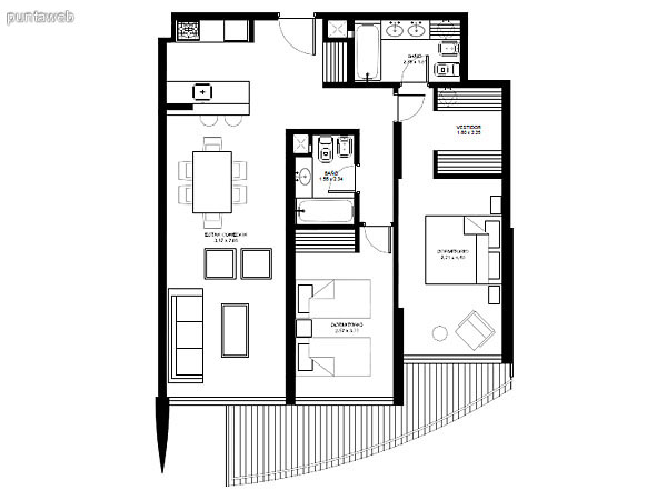Apartamentos de tipología 02 &ndash; 202 &ndash; 2202<br>2 dormitorios (1 en suite)<br>Metros propios &ndash; 86.96 m²<br>Terrazas &ndash; 11.78 m²<br>Circulaciones &ndash; 6.46 m²<br>Metros totales 105.20 m²