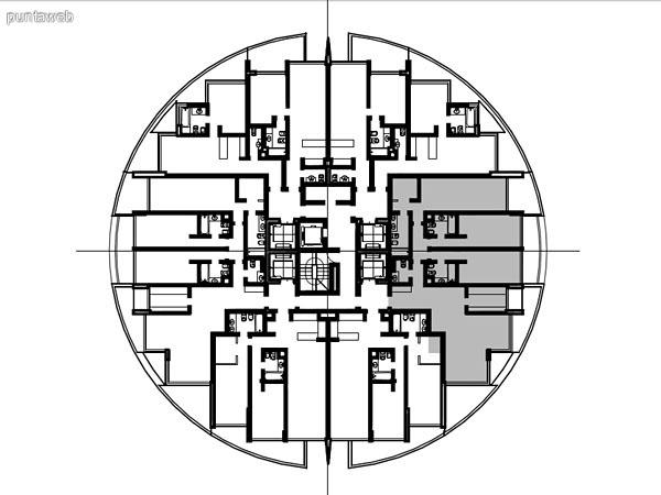 Ubicación en planta de los apartamentos de la tipología 03